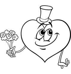 valentine heart with flowers coloring page vector image