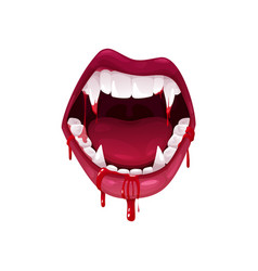 vampire mouth with fangs nd bloody saliva icon vector image