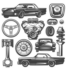 Vintage car components collection vector