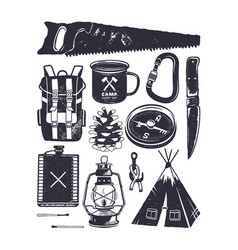 Vintage hand drawn camping symbols hiking icons vector