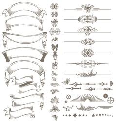 Vintage ribbons and design elements set vector