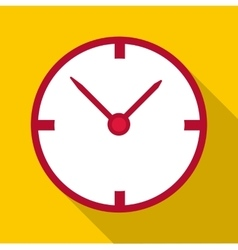 White wall clock icon flat style vector