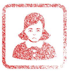 woman framed stamp vector image