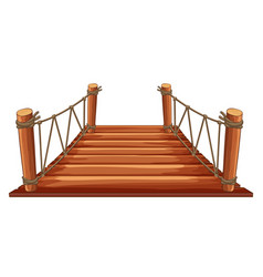 Wooden bridge with rope attached vector