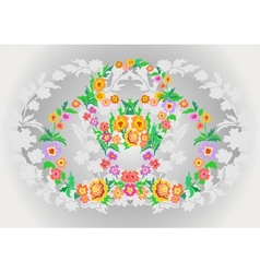 Wreaths from abstract flowers on floral background vector image
