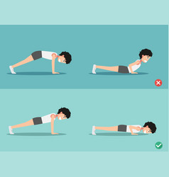 wrong and right push-up posture vector image