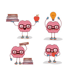 brain cartoon set with glasses and books and apple vector image