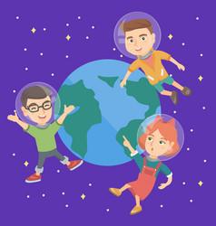 Caucasian astronaut kids flying in space vector