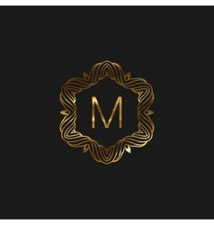floral monogram frame vector image vector image