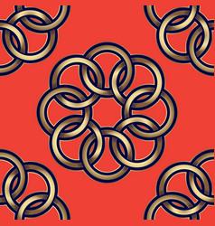 pattern gold flowers orange vector image vector image