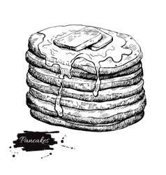 vintage pancake drawing Hand drawn vector image