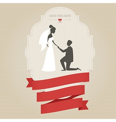 Vintage wedding invitation with bride and groom vector image