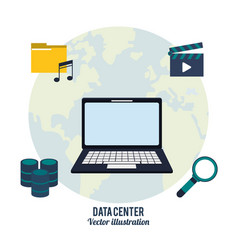 Data center laptop search video music vector