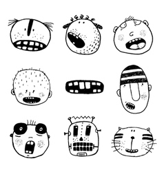 Doodle Heads and Outline Cartoon Monster Face vector image vector image