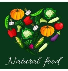 Heart vegetables flat icons Natural food emblem vector image vector image