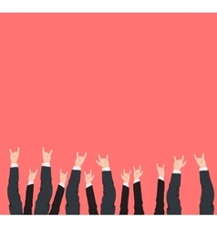 Many hands up cool rock victory and success vector image