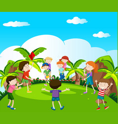 many kids playing and racing in the park vector image