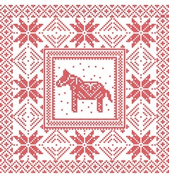 Scandinavian tile pattern with horse vector image vector image