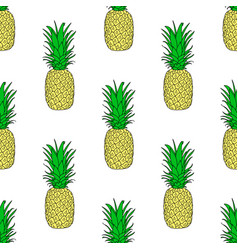 seamless pattern with a pineapple exotic fruit vector image