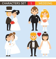 Wedding characters set flat desingn icons vector image