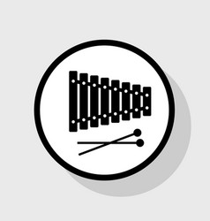 xylophone sign flat black icon in white vector image vector image