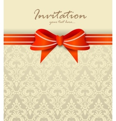 Invitation card with bow vector image