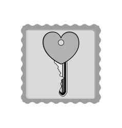 Post stamp with heart key vector