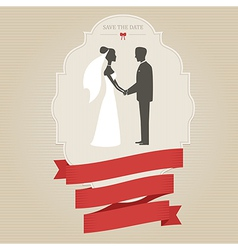 Vintage wedding invitation with bride and groom vector image vector image