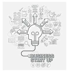 Business start up concept doodles icons set vector image