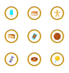 candies icons set cartoon style vector image vector image