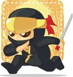 Cartoon of Ninja Holding Japanese Sword vector image vector image