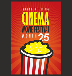 cinema movie festival poster with popcorn bucket vector image vector image