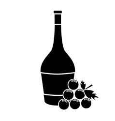 Contour wine bottle with grape fruit vector
