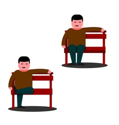 Man sitting on a park bench vector image