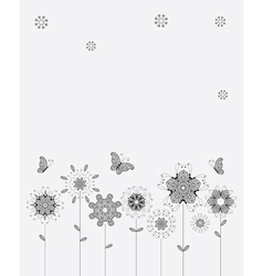 Spring meadow flowers and butterflies for your vector image