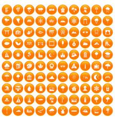 100 scenery icons set orange vector image vector image