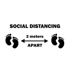 1255 social distancing two footprints 2 meters vector image