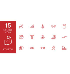 15 athletic icons vector