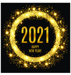 2021 happy new year glowing gold background vector image