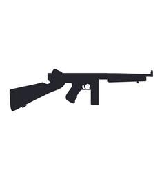American submachine gun silhouette vector