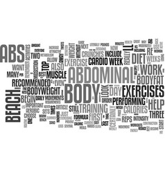 beach body abs text word cloud concept vector image