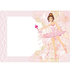 Beautiful ballerina - abstract card with flower vector image