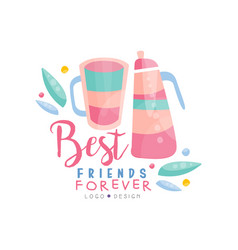 best friends forever logo design colorful vector image