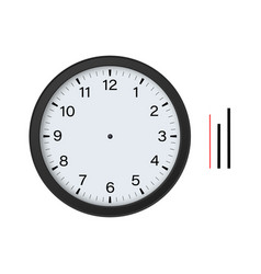 Black circle clock with hour minute second hands vector