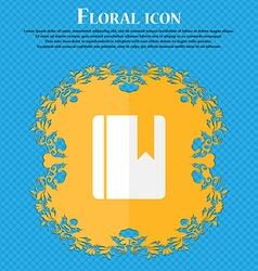 book bookmark Floral flat design on a blue vector image