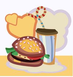 Burger drink vector