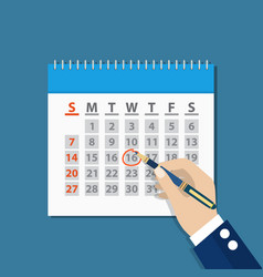 Businessman hand mark on the calendar by pen vector