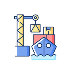 cargo loading rgb color icon vector image