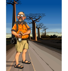 cartoon man tourist standing on the road vector image