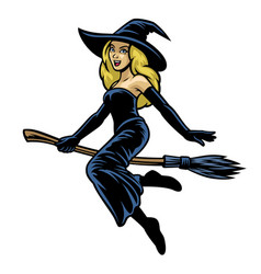 cartoon pretty women cosplay lady witch riding vector image
